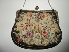 Antique Black Floral Petit Point Purse Handbag w/Chain Jeweled Clasp & Trim