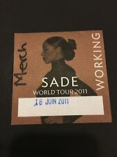 JUNE 18 2011 SADE WORLD TOUR FABRIC BACK STAGE PASS PITTSBURGH