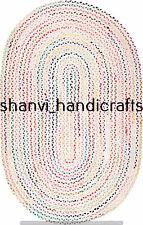 Handmade Braided Oval Rug Multi Colour Chindi Cotton 3x4 Feet Bohemian Rags Rugs