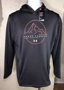 NWT $55 Men's Under Armour Tech Terry Mountain Hoodie Sz 2XL Gray