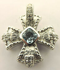 JUDITH RIPKA STERLING SILVER BLUE TOPAZ MALTESE CROSS PENDANT ENHANCER CHARM