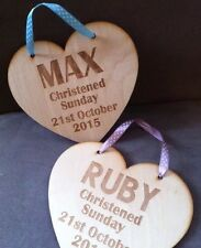 Personalised Wooden Heart Plaque Birthday Christening New Baby
