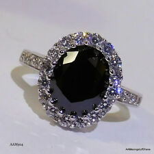 Giani Bernini Sterling Silver Halo Cocktail Cubic Zirconia Black Ring Sz 7 $140