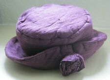Vintage retro flower floppy hat. Women's Victoriana style. Purple silk. Lined