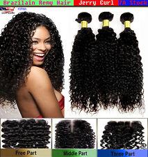 3 Paquet Bouclé Vierge Brésilien Cheveux Humains avec Gratuit Fermeture Lacée