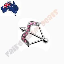 316 Surgical Steel Arrow Nipple Shield Ring with Pink CZ Gems