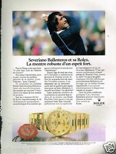 Publicité advertising 1989 La Montre Rolex Day-Date avec Severiano Ballesteros