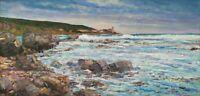 Dipinto moderno ad olio Quadro Mare Marina con scogliera Livorno firmato Chiesi