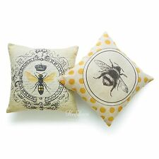 Throw Pillow Cover HEAVY WEIGHT French Country Modern Vintage Queen Bee Set of 2