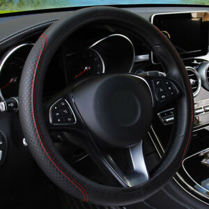 """Black Red PU Leather Car Steering Wheel Cover Protector Auto Accessories 15"""""""