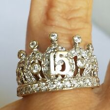 Wide 14k white Gold 15 years Quinceanera crown white april stone Ring S 8
