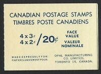 Canada BK63a 1967 QEII Centennial 2c and 3c (pane of 8+2 labels) OPAL Booklet VF