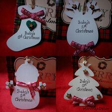 PUPAZZO Di Neve Renna Stivali personalizzato handmadebaby Ornamento di Natale - 1st