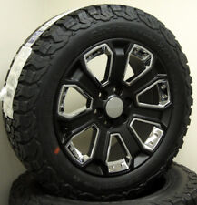 """GMC Sierra Yukon Denali 1500 20"""" Wheels Satin Black and Chrome Rims BFG AT Tires"""