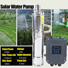 3inch 24V 270W Deep Well Solar Water Pump Submersible MPPT Controller Kit New