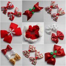 Christmas Hair Clips, Bobbles, Headbands, Sets, Bows Holly Snowflakes Santa xmas