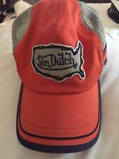 Von Dutch Kustom Made Originals Baseball Cap Hat Orange Navy