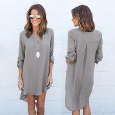 Womens Ladies Chiffon Blouse Long Sleeve T Shirt Casual Short Dress Tops  New
