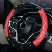 Women's Car Steering Wheel Cover Black+Red Series Seasons Universal