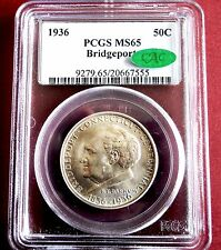 1936  UNC. BRIDGEPORT SILVER COMMEMORATIVE SILVER HALF DOLLAR (MS-65 CAC CERT)