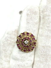 Vintage 14K Yellow Gold Ruby and Diamond Cocktail Ring (Size 5.5) - 5.5 Grams