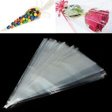 100Pcs Clear Cellophane Cone Cello Sweet Candy Flower Bags Birthday Gift New
