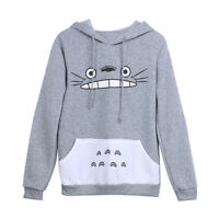 Fashion Unisex Men Women Cartoon Totoro Hoodie Hooded Pullover Sweatshirt Grey