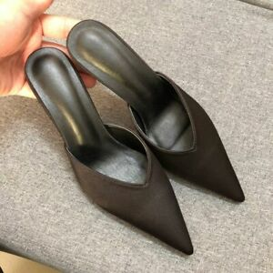 Womens Pointy Toe Kitten Heels Mules Slip On Stilettos Evening casual Sandals