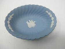 Wedgwood Blue Jasperware~5 1/2 � Oval Tray ~ Scalloped Edge ~ Floral