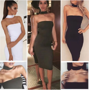 UK WOMENS BODYCON BANDAGE DRESS LADIES OFF SHOULDER PARTY DRESSES SIZE 6-14 SEXY