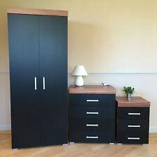Black & Walnut Bedroom Furniture Set - Wardrobe, 4 Drawer Chest, 3 Draw Bedside