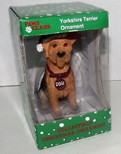 Dog Yorkshire Terrier Christmas Ornament Dated 2011 Paws Claus Stocking Cap NEW