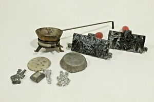 P- Antique Lead Soldier Cast Mold and Smelting Pot Toy with Ingots 3 Pc