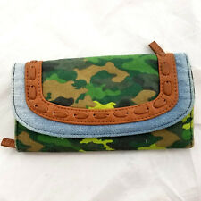 NEW Mossimo Supply Target Green Camo Camouflage Denim Faux Leather Wallet NWT