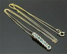 9ct yellow Gold hallmarked blue diamond pendant  with 9ct gold Chain