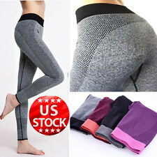 Woman Sports Gym Yoga Fitness Leggings Pants Athletic Clothes Stretch Gray M/L