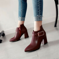 Women Side Zip Ankle Boots Pointed Toe Block Heel Buckle Booties Plus Size Shoes