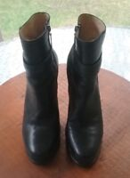 TALBOTS  WOMENS BLACK LEATHER FASHION  BOOTS/SHOES SZ 8.5 B EXCELLENT COND