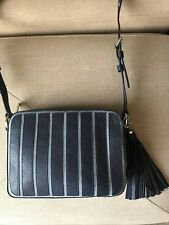 Authentic Michael Kors Applique Stripe Canvas Brooklyn Large Camera Bag ~New~
