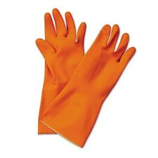 Boardwalk BWK244XL, Flock-Lined Latex Cleaning Gloves, Extra Large, Orange, 12 P