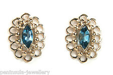 9ct Gold London Blue Topaz Stud Oval Earrings Gift Boxed Studs Made in UK
