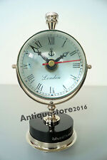Nautical Brass Designer Table Clock Beautiful Chrome Finish Solid Quality GIFT..