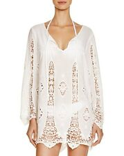 NWT Nanette Lepore Swimsuit Bikini Cover Up Lace Paneled Tunic Dress Size M WHT