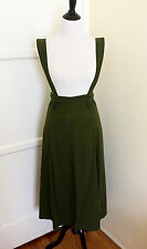 Vintage Repro 40s 50s Green Pin Up Suspender Jumper Pinafore Swing Skirt Dress S