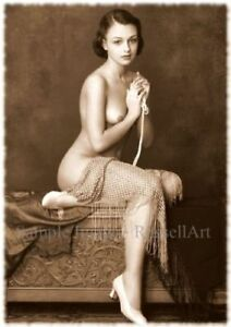 Elegance Vintage Erotic Nude female sepia A4 A3 A2 PHOTO EDIT REPRINT RussellArt