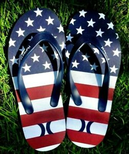 Hurley Men's Flip Flop Sandals Size 10  American Flag Red/White/Blue beach NEW