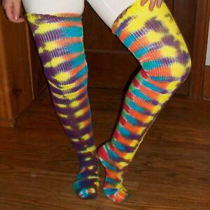 Tie Dye Thigh Highs Socks Wild Rainbow Stripes 9-11 Tye Dyed Hippie Made in USA