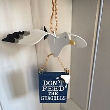 Hanging seagull decoration.Please don't feed the seagulls. Shoeless joe.Nautical