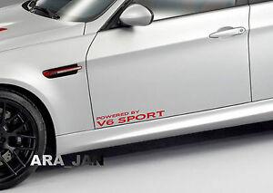 Powered by V6 SPORT Racing Vinyl Decal speed car emblem logo door sticker RED