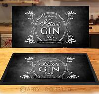 Personalised Gin Bar Grunge Runner MAT - Black & White Bar mat - *ANY NAME*